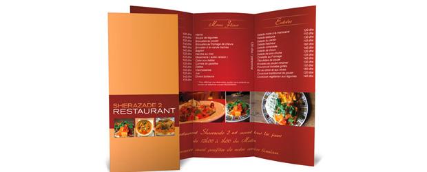 carte pour restaurant